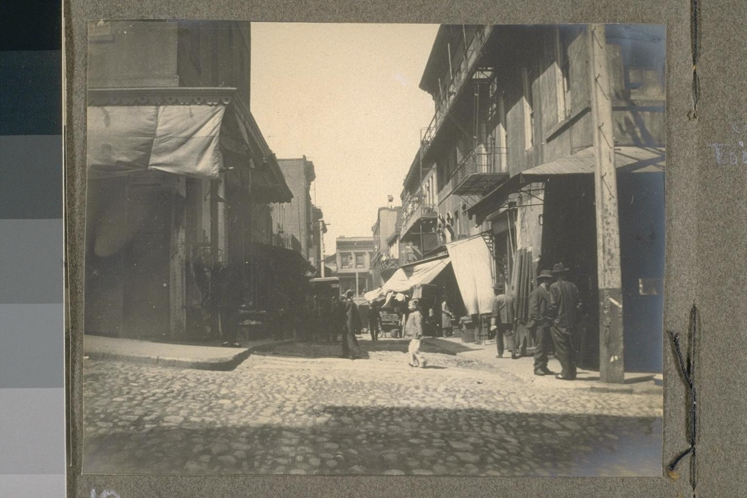 A Street Scene in Chinatown, San Francisco. Circa 1906. From collection at Bancroft Library, UC Berkeley.