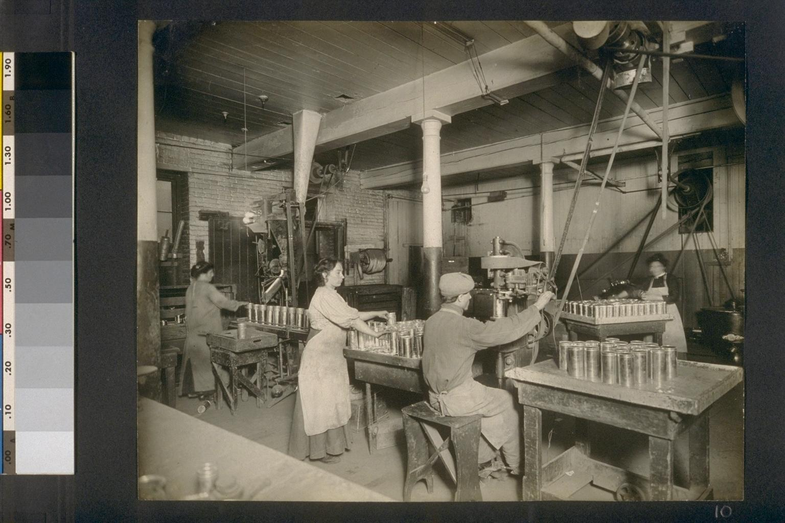[Factory workers in canning area.]