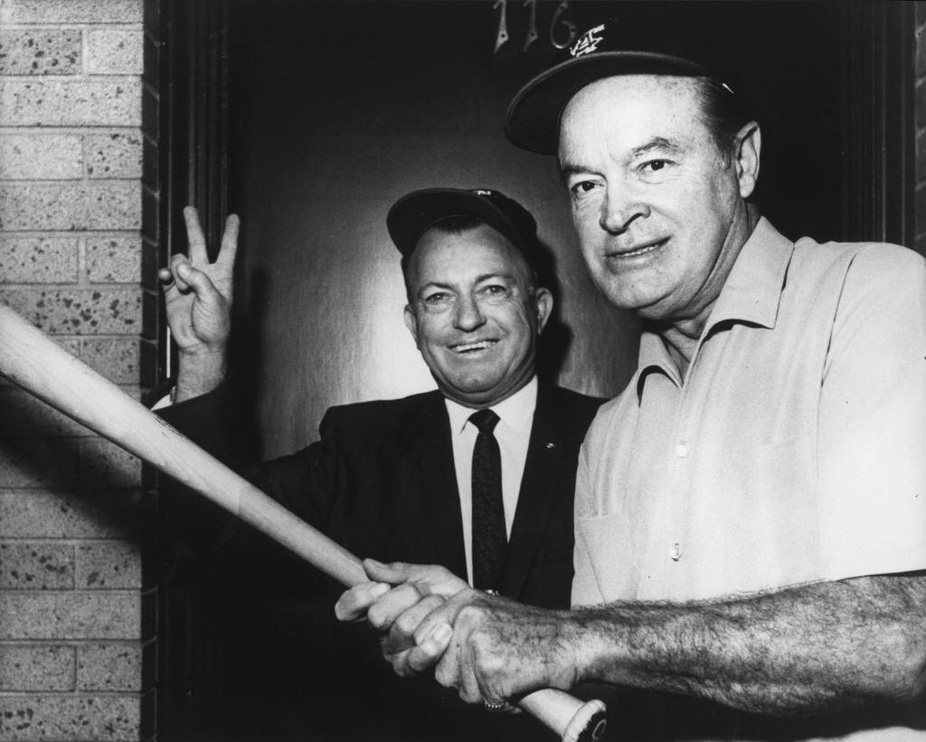Mayor Calvin Pebley and Bob Hope on their way to California Angels ...