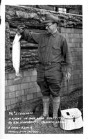 9 1/4 lb. Steelhead caught in June Lake Aug. 1st 1928 by E.W. Kingsbery - Boulder Lodge