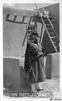 San Juan Pueblo Indian Lady with her Wool embroidered ceremonial Robe