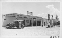 The Old Home of the Isleta Indians First Governor, Now El Pueblo Store, Owned and Operated by Julia Culver, His Great Granddaughter. St. Augustine, One of America's Oldest Churches on the Right, Isleta, New Mexico.