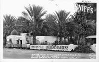 """Date and Gift Shop Entrance to """"Sniff's Back Yard"""" Date Garden Near Indio, Calif."""