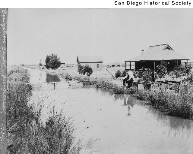 Fishing an irrigation canal, Imperial Valley, 1904-05, courtesy San Diego Historical Society/Calisphere
