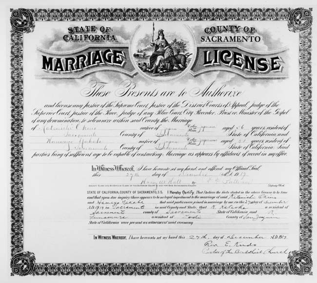 marriage license state of california county of sacramento