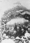President Benjamin Harrison on train at Santa Fe Depot in 1891