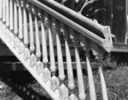 Detail of stair railing (pine) from the Dr. J. A. Hatch house about 1981