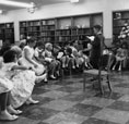 Children's library at the dedication ceremonies for the Santa Ana Public Library at 26 Civic Center Plaza on May 1, 1960