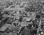 Aerial view of the developing Orange County Civic Center around 1959