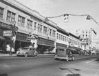 West side of N. Main Street between 2nd and 3rd Streets during Christmas time in the 1930's