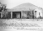 Front view of the Gabe Allen adobe located on Rancho Santiago de Santa Ana, 1936