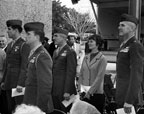 Military personnel attending the dedication of Santa Ana City Hall on February 9, 1973