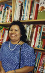 Becky Luna-Garcia, Library service assistant at Newhope Branch Library on 122 North Newhope Street about 1988