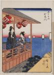Women on balcony of a teahouse in Kanagawa, number 4 from the Fifty-three Stations (Jimbutsu Tokaido)