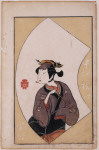 The actor Nakamura Matsue as a woman holding a pipe, from A Picture Book of Theatrical Fans