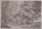 Untitled (Landscape with large trees and pavilion)