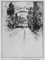 From R.L. Stevenson's House, San Francisco, 1912, Hyde Street with Cable Car Tracks