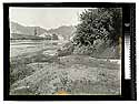 [River bed with Scotia Bluffs and railroad tracks in the