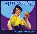 "Crate label, ""Marquita Brand."" Gavilan Citrus Association, Arlington, Riverside Co., Calif."