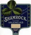 """Crate label, """"Shamrock"""" Sunkist Valencias, Northern Orange County."""