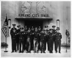 Upland Photograph Public Services; Upland Police Department: police officers standing at ease at the entrance to Upland City Hall