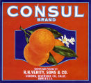 """Crate label, """"Consul Brand."""" Grown and packed by R.H. Verity, Sons & Co. Corona, Riverside Co., Calif."""