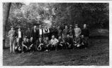 Upland Photograph Events; Upland Fire Department Camping Trip: 23 men kneeling or standing in San Antonio Canyon