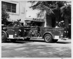 Upland Photograph Public Services; Upland Fire Department, two fire trucks parked at station / Corlyn Frank Joines