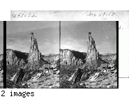 """Looking west to Independence Monument, Colo.  Same subject as in (48072 Box 47-10) from a different stand point. In the Colorado National Monument"""" near Grand Junction, Colo."""