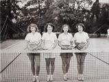 Girl tennis double teams, 1947-48