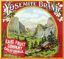 "Crate label, ""Yosemite Brand."" Packed by Earl Fruit Company, Riverside, Calif."
