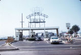 Cars enter the toll plaza of the San Diego and Coronado Ferry on the San Diego side of the bay, circa 1969.