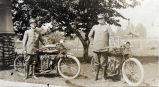 South Pasadena Motorcycle Policemen Frank Higgins and John Lillick with Indian Motorcycles, 1909