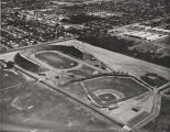 Aerial view, Citrus College stadium and baseball field, 1966
