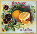 "Crate label, ""Pansy Brand."" S.R. Smith. California."