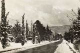 San Gorgonio Avenue looking south during snowfall in Banning, California in 1949