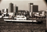 """The ferry boat """"Crown City"""" and San Diego cityscape, circa 1969"""