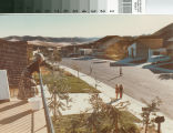 [Mission Viejo neighborhood with woman on balcony and children playing below in street, 1971 photograph].