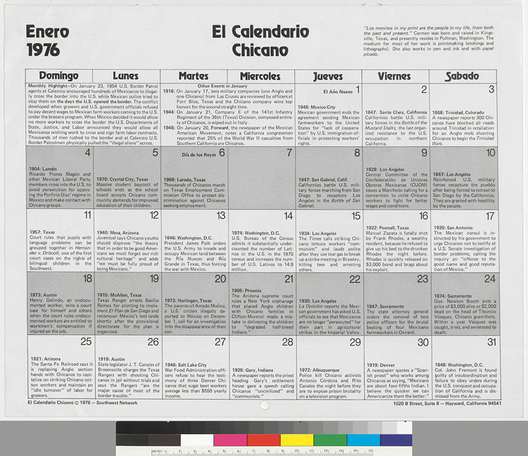1978 Calendario.El Calendario Chicano 1976