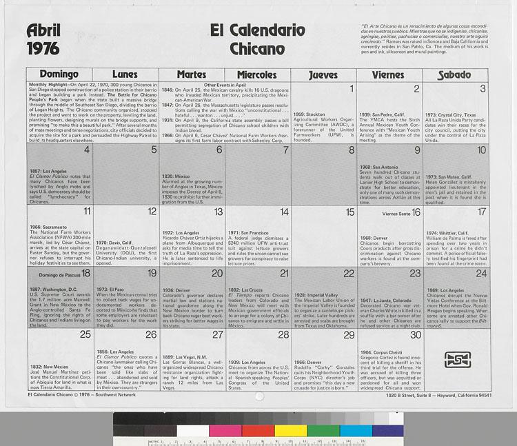 Calendario 1974.El Calendario Chicano 1976