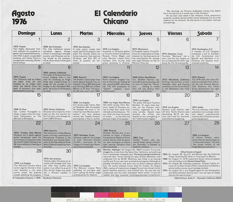 Calendario 1973.El Calendario Chicano 1976