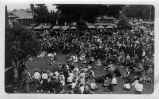 Upland Photograph Events; Fourth of July Parade: crowd listening to speaker at band shell 2nd Avenue and D Street, Upland, CA