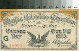 World's Columbian Exposition expressly for Chicago Day, Oct. 9th 1893