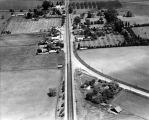 Aerial view of downtown Dublin and old Lincoln Highway 50 on the right, (1946), photograph