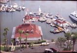 Aerial view of the Coronado Boathouse looking east over bay, 2001.
