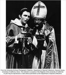Drama production, Two men, one dressed as a priest, the other dressed as a bishop