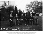 Dairy Industry Division and Short Courses. Top row, left to right: John B. Wood, George Dondero, Thomas Moran, Beach, Horn. Second row, left to right: Osburn, J.C. Marquardt, H.S. Baird, S.L. Demming, Wickham, Meads.