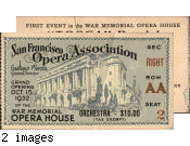 [Opening night ticket, War Memorial Opera House]
