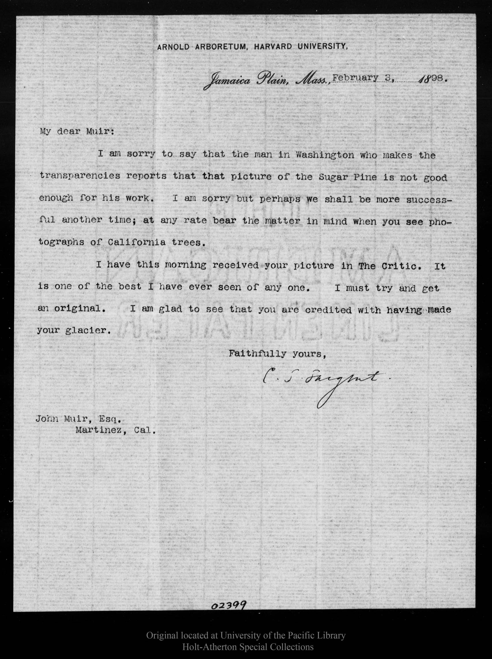 Letter from Charles Sprague Sargent to John Muir 1898 Feb 3