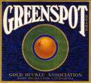 "Crate label, ""Greenspot Brand."" Gold Buckle Association. East Highlands, Calif."